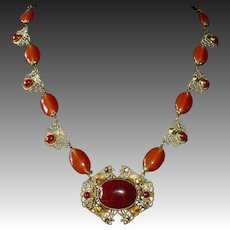 Art Deco Czech Bronze Filigree Necklace Carnelian Glass
