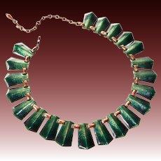 Renoir Matisse Copper & Enamel Collar Necklace