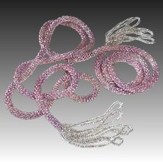 Woven Pink Glass Seed Bead Rope Tasseled Flapper Necklace