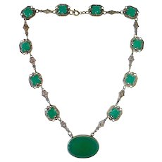 Art Deco Brass & Chrysoprase Glass Necklace