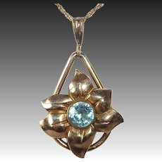 Gold Filled Retro Flower Pendant Necklace w Blue Zircon