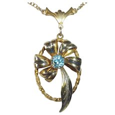 Rose & Yellow Gold Filled & Zircon Retro Necklace