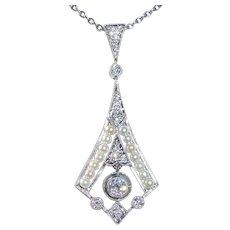 Antique Edwardian Platinum Diamond & Pearl Lavaliere Necklace