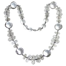 Art Deco Sterling Quartz Crystal Pools of Light & Faceted Beads