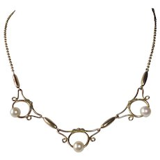 Rose Gold Filled Retro Necklace w Cultured Pearls