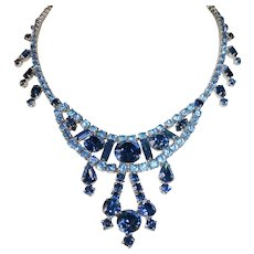 Ornate Rhinestone Necklace in Shades of Blue