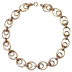 Sterling Heavy Link Necklace 10k Rose & Yellow Gold Overlay