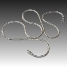 Sterling Handcrafted Heavy Woven Chain Necklace