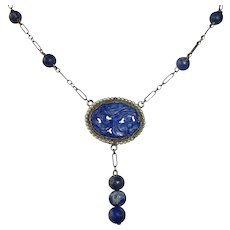 Art Deco Gold Washed Sterling & Lapis Necklace