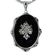 Art Deco Sterling Onyx Marcasite Pendant Necklace Germany