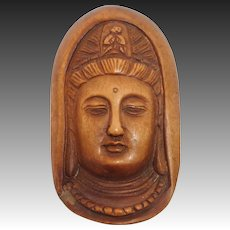 Japanese 20C Carved Wood Buddha Head Netsuke Signed