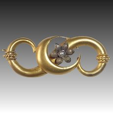 18k Victorian Pin Crescent Moon & Flower Pearl