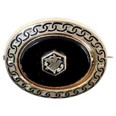 Victorian Rolled Gold Onyx & Hair Pivoting Mourning Pin