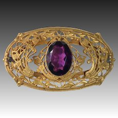 Victorian Gilt Brass Amethyst Glass Jewel Sash Ornament Pin