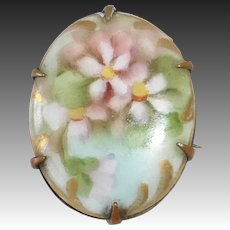 Hand Painted Porcelain Pink Forget-Me-Nots Brooch