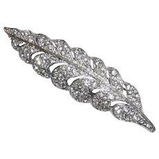 Sparkling Rhodium Plate Paste Rhinestone Leaf Pin