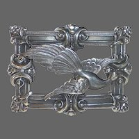 Antique Victorian Exotic Bird Sash Ornament Pin