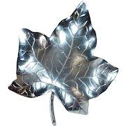 HSB Sculptural Sterling Leaf Pin