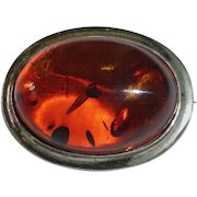 Sterling Pin w Genuine Baltic Amber Cabochon