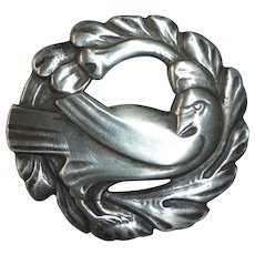Sterling Dove and Wreath Pin Classic Design