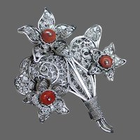 Sterling filigree Flower Bouquet w Coral