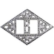 Art Deco Sterling Marcasite B Initial Pin
