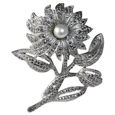 Sculptural Sterling Daisy Flower Pin Cultured Pearl