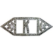 Art Deco Sterling Silver & Sparkling Marcasite K Initial Pin