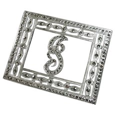 Art Deco Sterling & Marcasite Initial J Pin