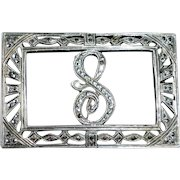 Art Deco Sterling & Marcasite Initial Initial S Pin
