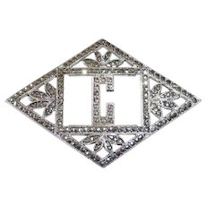 Art Deco Sterling & Sparkling Marcasite C Initial Pin