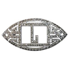 Art Deco Sterling Silver & Marcasite Initial L Pin