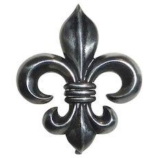 Edwardian Sterling Fleur-de-Lis Watch Pin