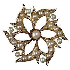 Antique Edwardian 14k & Seed Pearl Pendant/Pin Signed KOHN