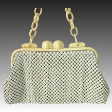 Whiting Davis Art Deco Ivory Enamel Metal Mesh Purse Celluloid Frame