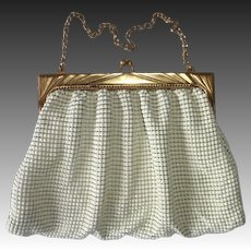 Whiting Davis White Enamel Mesh Purse Gold Frame