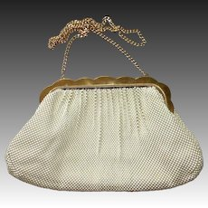 Whiting Davis Creamy White Enamel Mesh Purse Gold Frame