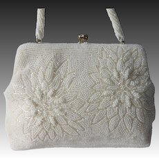 Pearly White & Cream Beaded Evening Purse Clutch or Handle