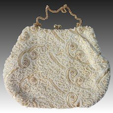 Delill White Beaded & Silk Embroidered Evening Purse
