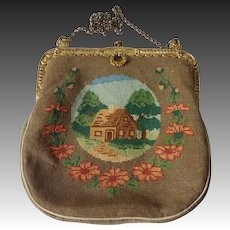 Scenic Silk Needlepoint Purse House~Garden~Flowers
