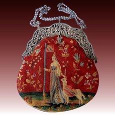 Antique Silk Scenic Pettipoint Needlepoint Purse 900 Silver Cherubs Frame