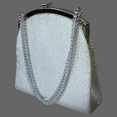 Silver Fabric Purse Long w Long Chain Handle