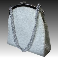 Silver Fabric Purse Long w Long Chain Handle