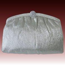 Silver Metallic Cloth Clutch/Handled Purse