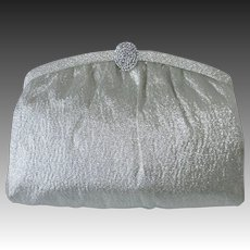Silver Metallic Cloth Clutch/Handled Purse