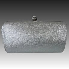 Silver Metallic Cloth Clutch Purse w Fold in Handle