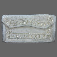 White & Champagne Glass Beaded Clutch Purse