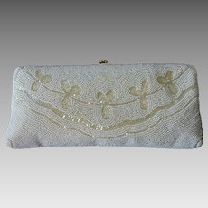 Walborg White & Champagne Glass Beaded Clutch Purse