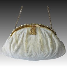White & Cream Quality 1930s Beaded Purse Ed B. Robinson
