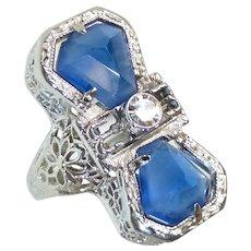 Art Deco 10k Filigree Pinky Ring Diamond & Faux Sapphires